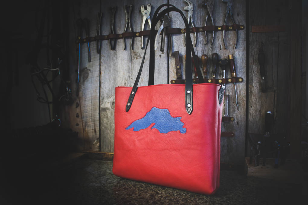 Lake Superior leather hand bag by Wade Cashman