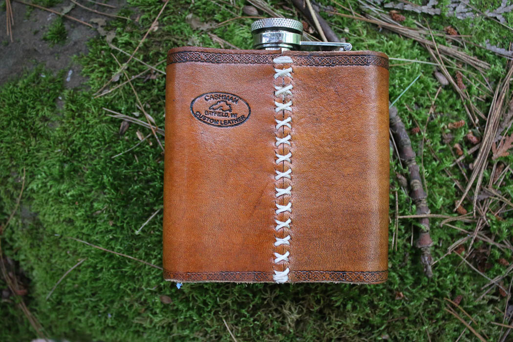 flask case made by Cashman Custom Leather