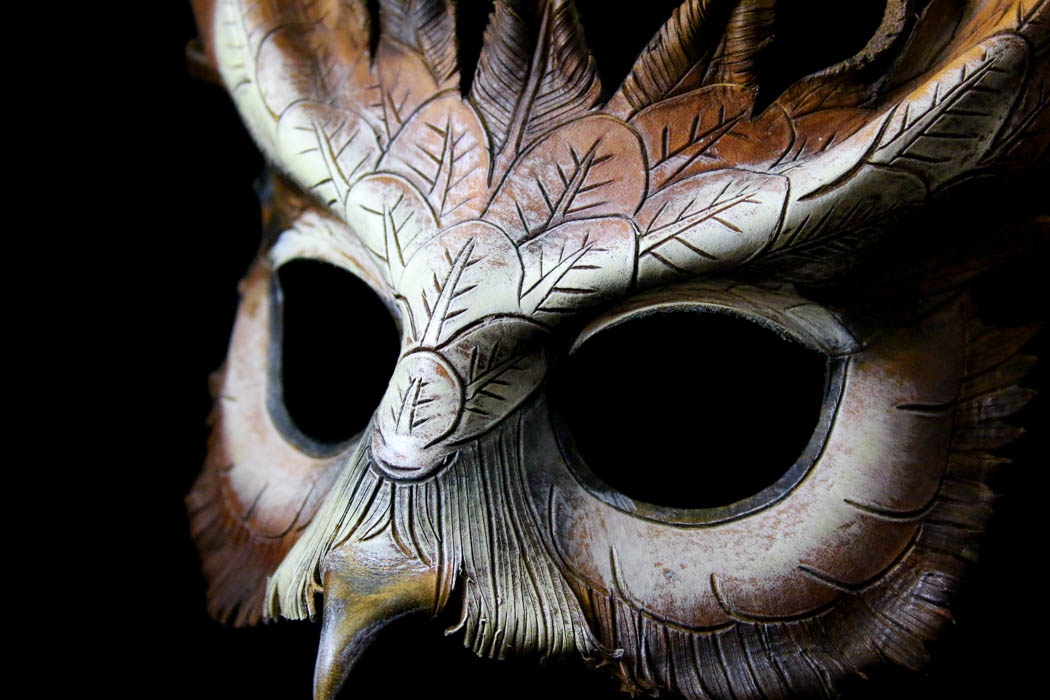 Leather owl mask by Wade Cashman